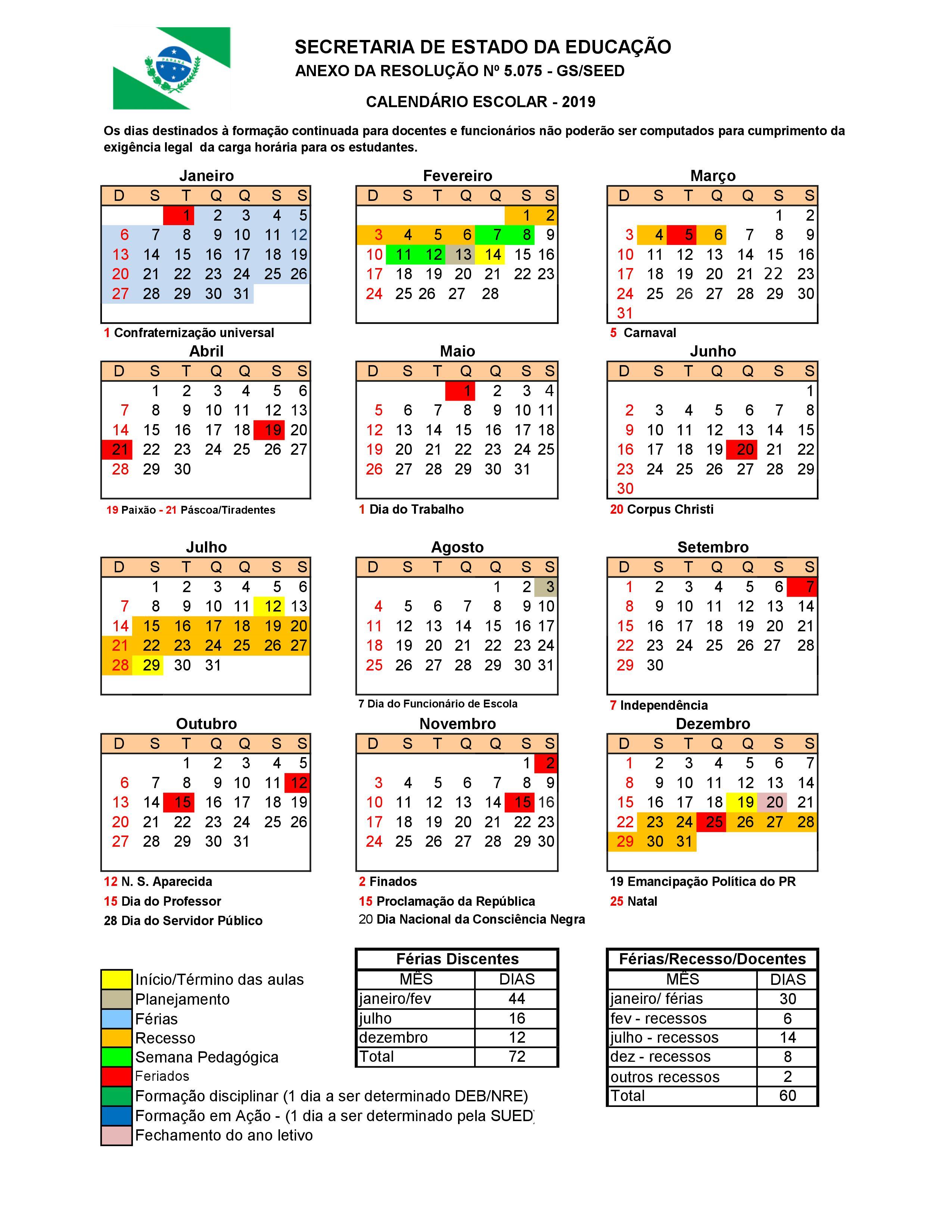Divulgado Calendário escolar 2019 da Educação Básica do Paraná 78eeef9748069
